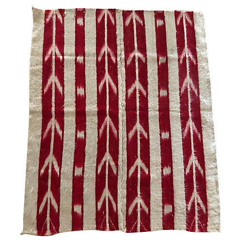 "Red & White Wool Rug, 5'8"" x 4'8"""