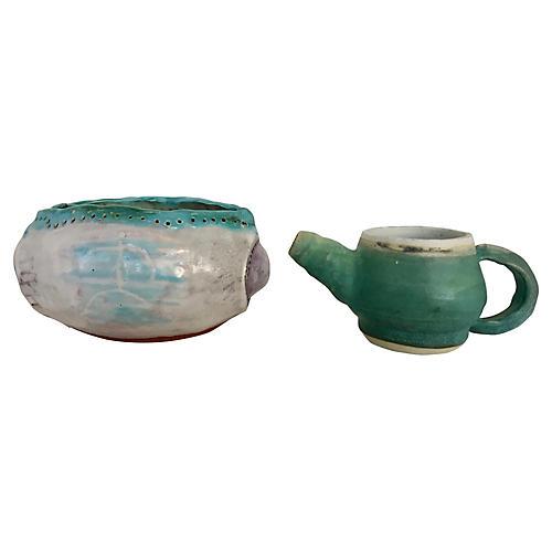 Studio Pottery Creamer & Small Bowl, S/2