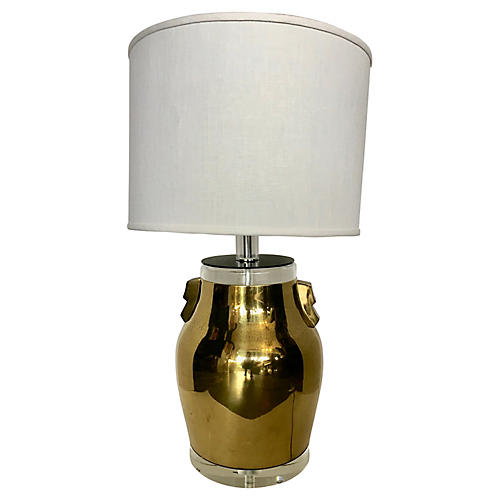 Bauer Brass & Lucite Table Lamp