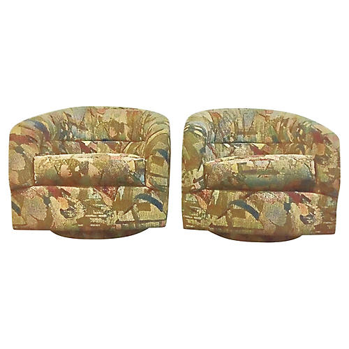 Abstract Pattern Swivel Chairs, Pair
