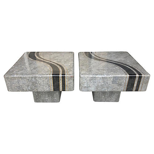 M. Smith Stone & Brass Side Tables, Pair