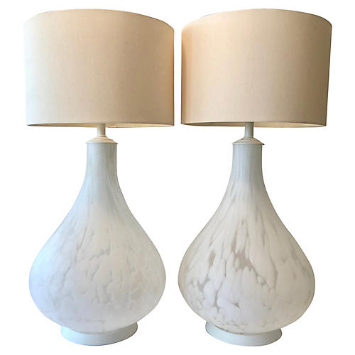 1960s Murano Glass Table Lamps, Pair