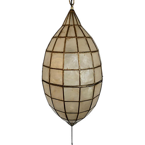1970s Capiz Shell & Brass Pendant Light