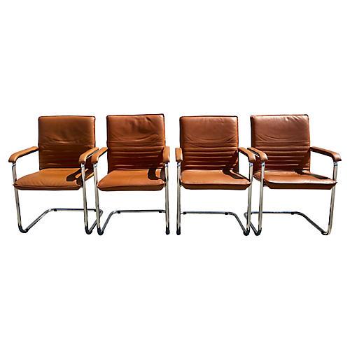 Four Italian Leather & Chrome Chairs