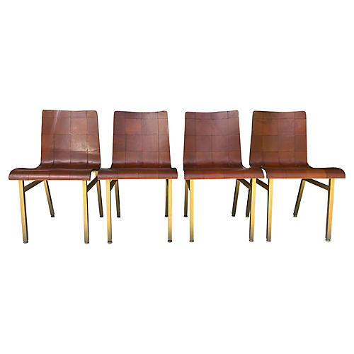 Gold Aluminum & Leather Side Chairs, S/4