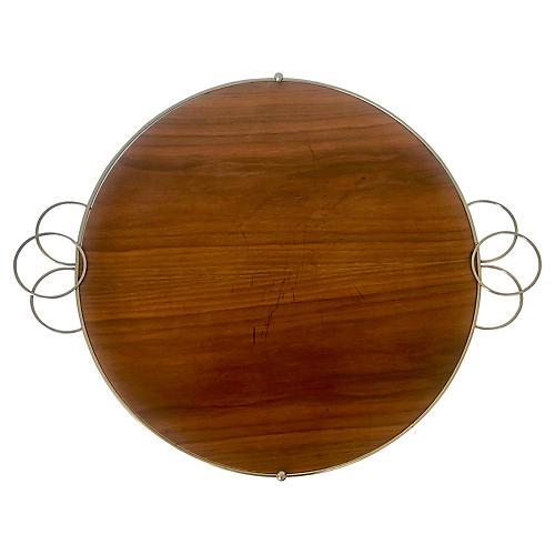Mid-Century Modern Metal & Wood Tray