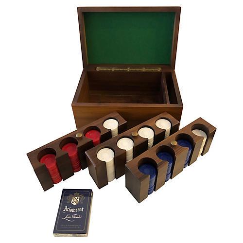 Vintage Poker Set With Wood Box