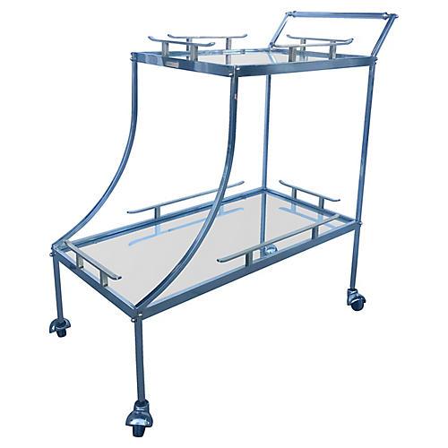 James Mont-Style Chrome & Brass Bar Cart