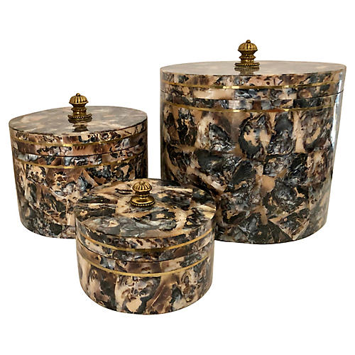 Pearl & Brass Boxes By M.Smith, S/3