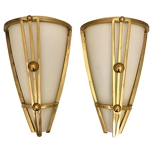Art Deco French Sconces By Vianne, Pair