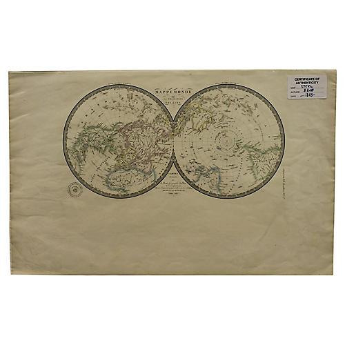 Hemispherical World Map