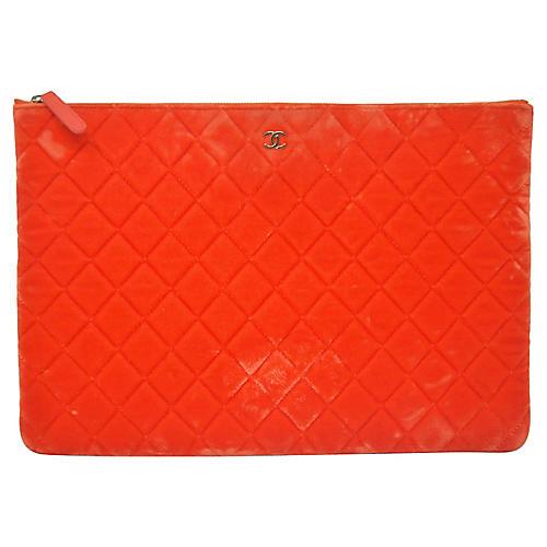 Chanel O Case Orange Velvet Clutch