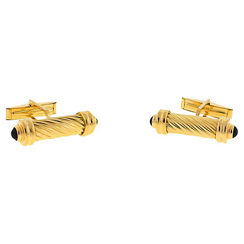 14K Gold & Onyx Cabochon Cuff Links