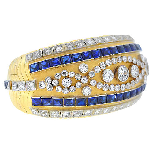 18K Gold, Diamond & Sapphire Bangle
