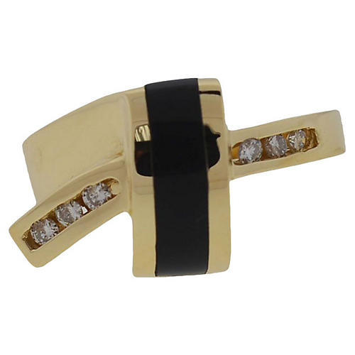 14K Gold, Diamond & Onyx Ring