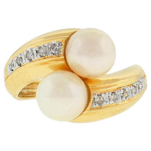 14K Gold, Pearl & Diamond Ring
