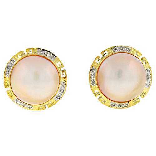 14K Gold, Pearl & Diamond Earrings