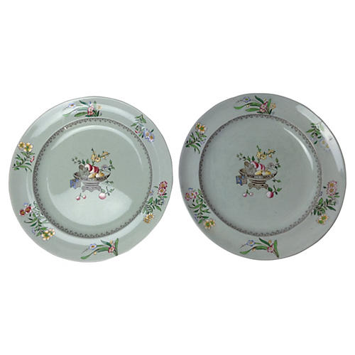 19th-C. Minton Hand-Painted Plates, Pair