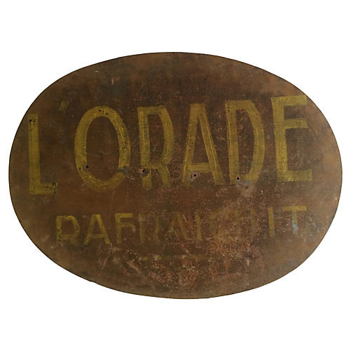 Large French Hand-Painted Metal Sign
