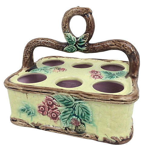 English Majolica Egg Basket