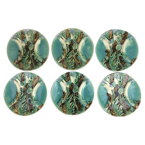 French Artichoke & Asparagus Plates, S/6
