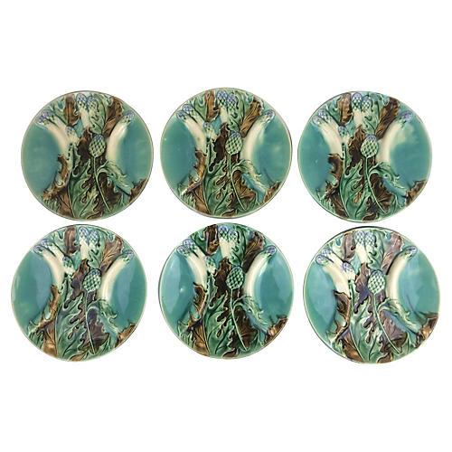 French Artichoke & Asparagus Plates, S/6