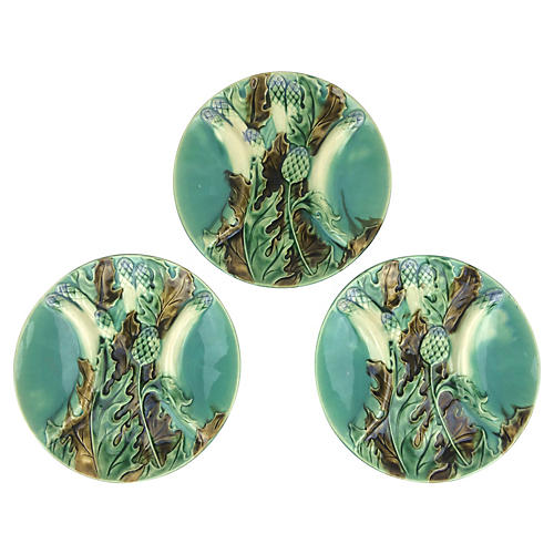 French Artichoke & Asparagus Plates, S/3