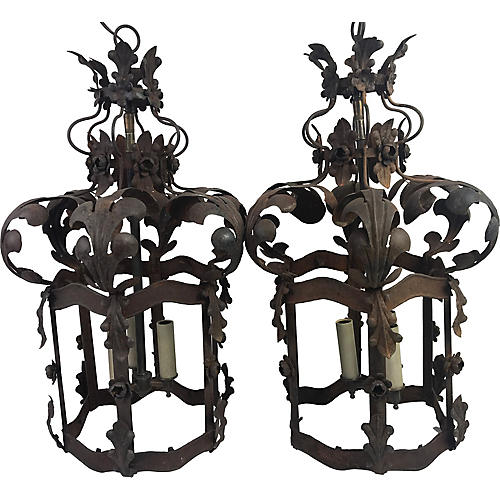 19th C. French Lanterns, Pair