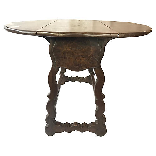 Spanish Drop-Leaf Table w/ Mouton Legs