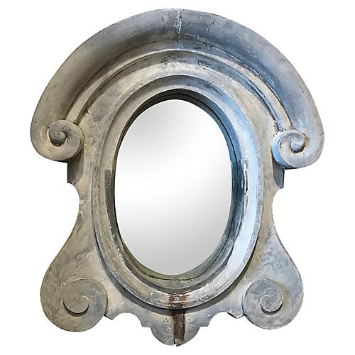 French Zinc Window Repurposed as Mirror