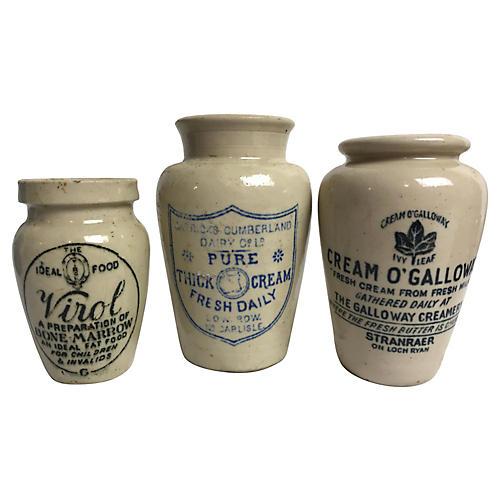 English Advertising Jars, S/3