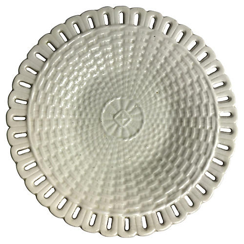 French Creamware Basket-weave Plate