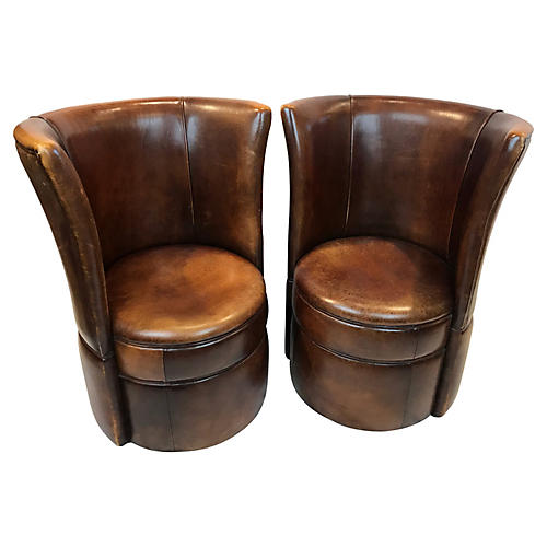 French Leather Small Club Chairs, Pair
