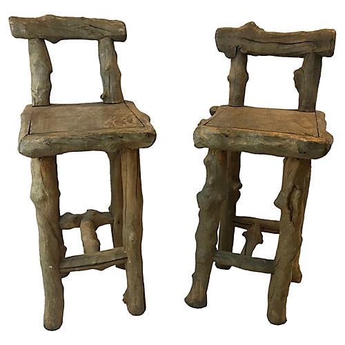 French Natural Form Log Bar Stools