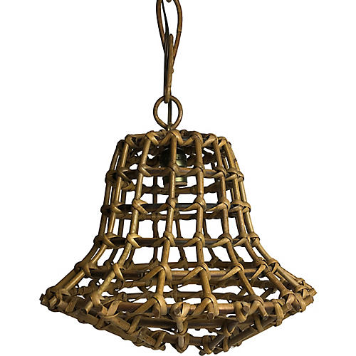 Midcentury French Rattan Pendant Light
