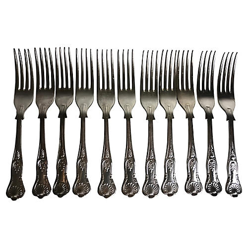 English Silverplate Forks, S/11