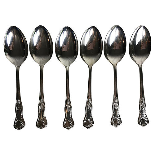 English Silverplate Kings Pattern Spoons