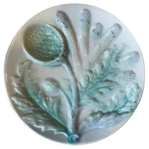 French Majolica Artichoke Plate