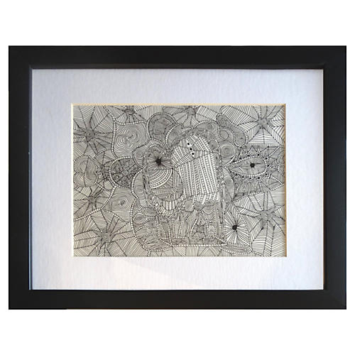 Lyrical Web Drawing by Alejandro Stein