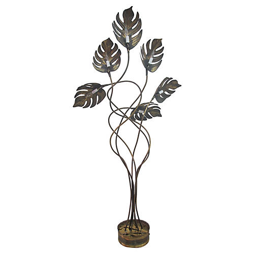 Tommaso Barbi-Style Brass Floor Lamp