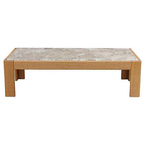 Beechwood & Marble Coffee Table