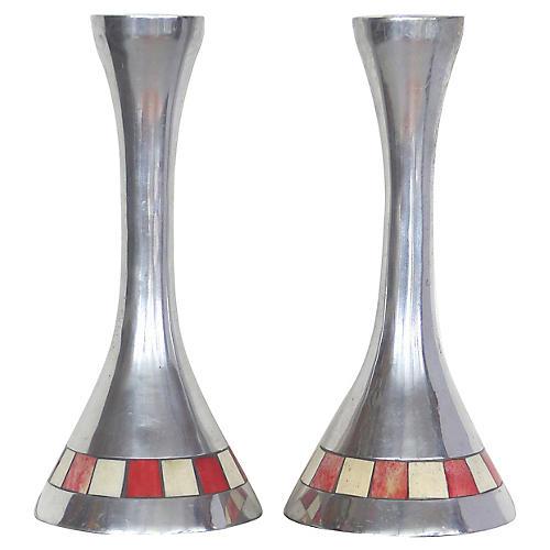 Tessellated Bone & Metal Candlesticks,Pr