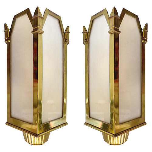 Art Deco Theater Sconces, Pair