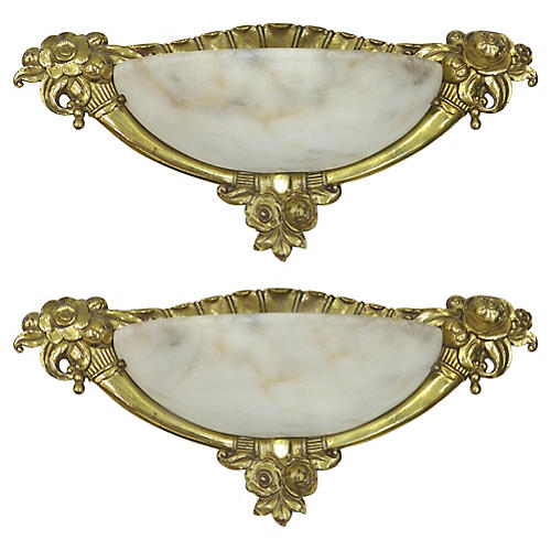French Alabaster Sconces, S/2