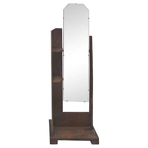 Oak Cheval Floor Mirror