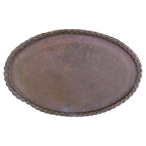 Large-Scale Oval Moroccan Brass Tray
