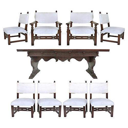Renaissance Revival Table & Chairs, S/9
