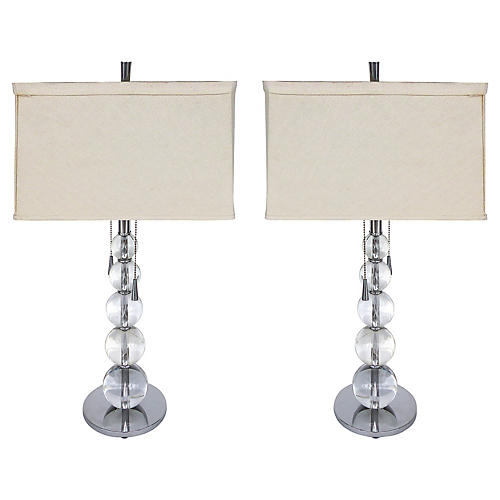 Graduated Glass Spheres Table Lamps, Pr