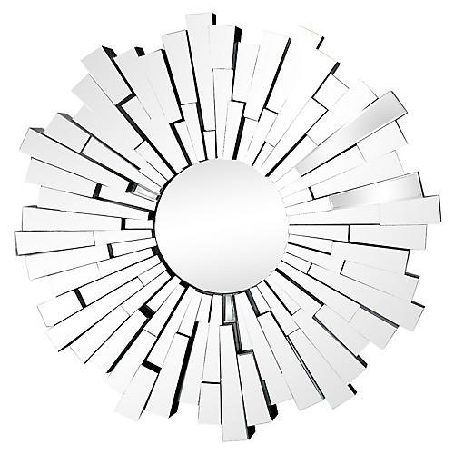Sculptural Beveled Sunburst Wall Mirror