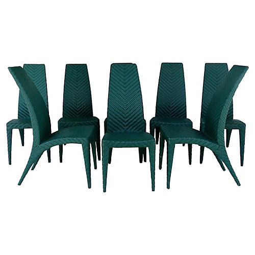 Woven Leather Dining Chairs, Set of 8